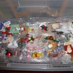 tree ornaments in bin