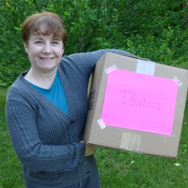 Janine with donation box