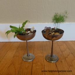planters made from recycled goblets