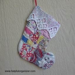 Christmas stocking made from old quilt