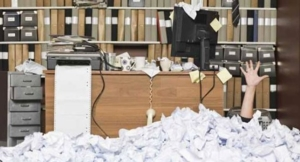 office and paper mess