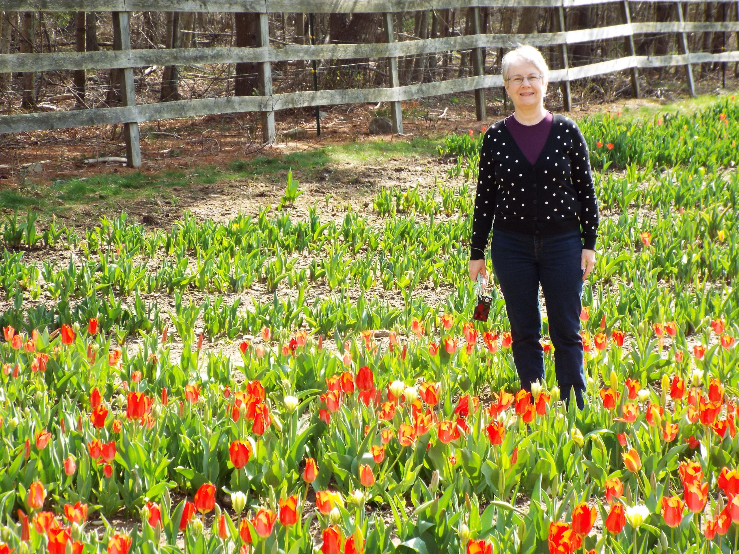 Janine in tulip field